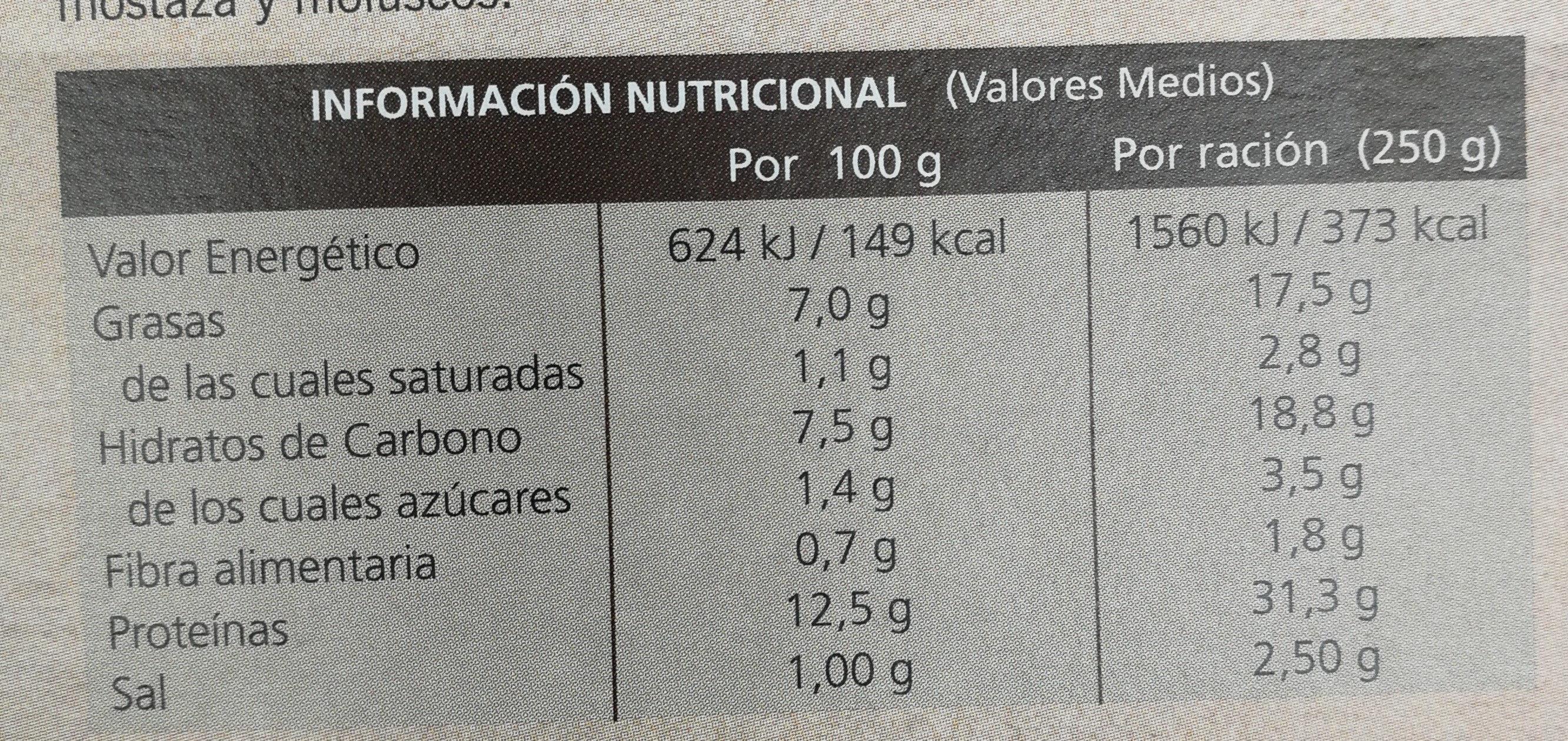Pollo al ajillo con patatas asadas - Nutrition facts - es