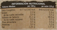 Arroz basmati - Información nutricional - es