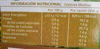 Crema de Verduras y Hortalizas - Informació nutricional - es