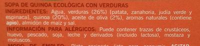 Sopa de quinoa ecológica con verduras - Ingredients