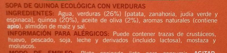 Sopa de quinoa ecológica con verduras - Ingredients - es