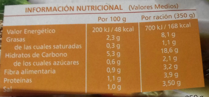 Sopa de quinoa ecológica con verduras - Informació nutricional - es