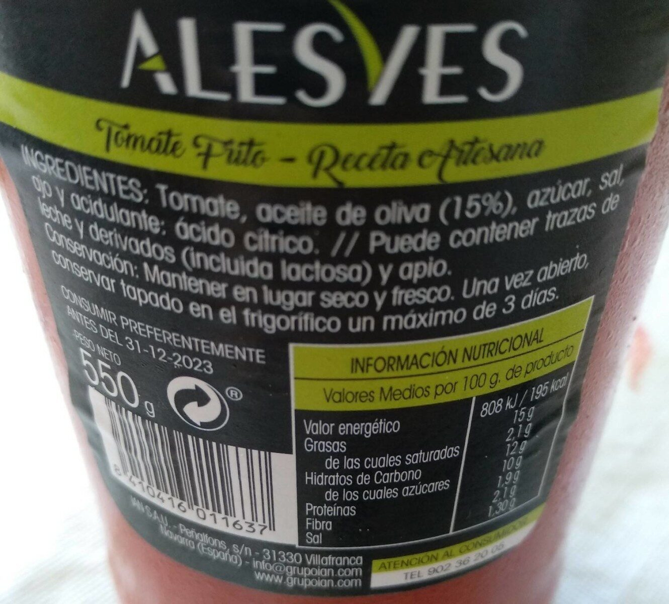 Tomate frito Alesves - Nutrition facts