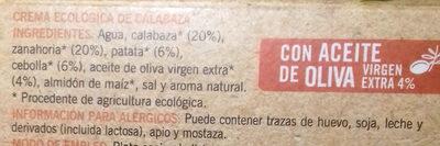 Crema ecologica de calabaza - Ingrédients - es