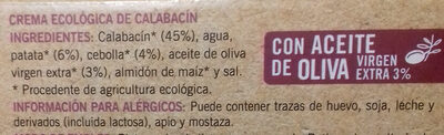 Crema ecologica de calabacin - Ingrédients - es