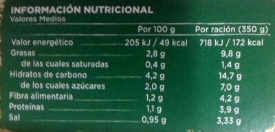 Crema ecológica de verduras - Información nutricional