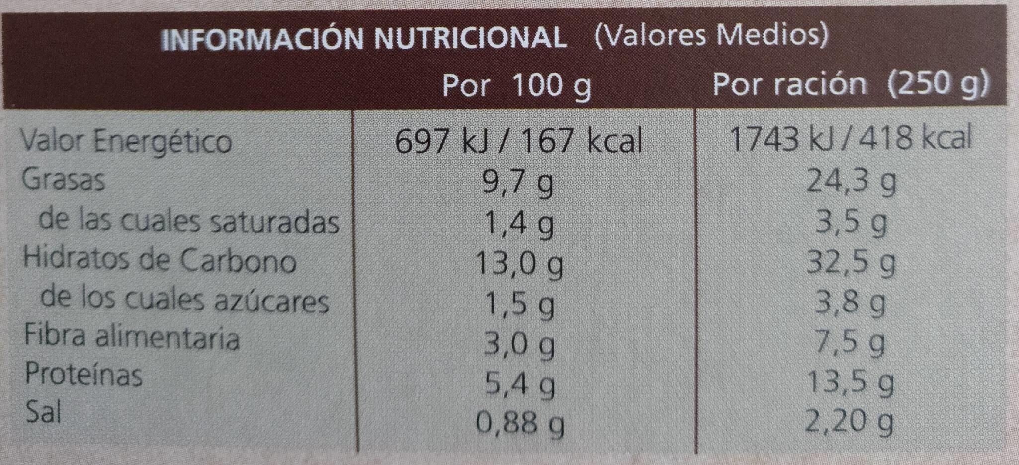 Salteado de verduras con quinoa - Voedingswaarden - es