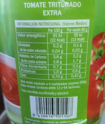 Tomate triturado - Información nutricional