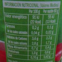 Tomate natural triturado - Información nutricional