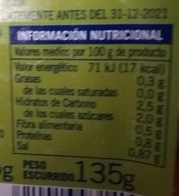 Yemas de espárragos extra gruesas - Información nutricional