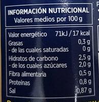 Espárragos blancos extra - Informació nutricional