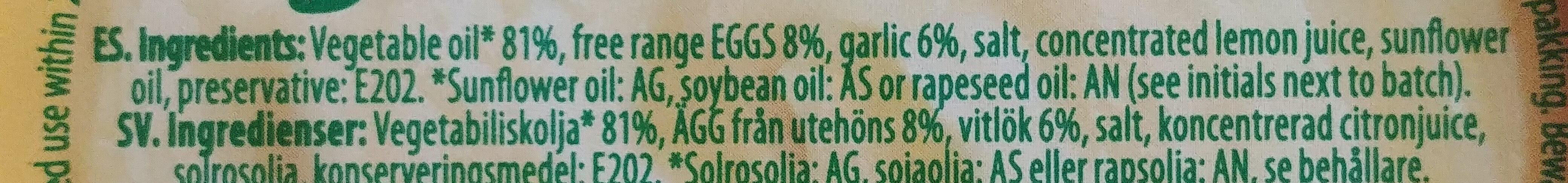 Allioli - Ingredients - en