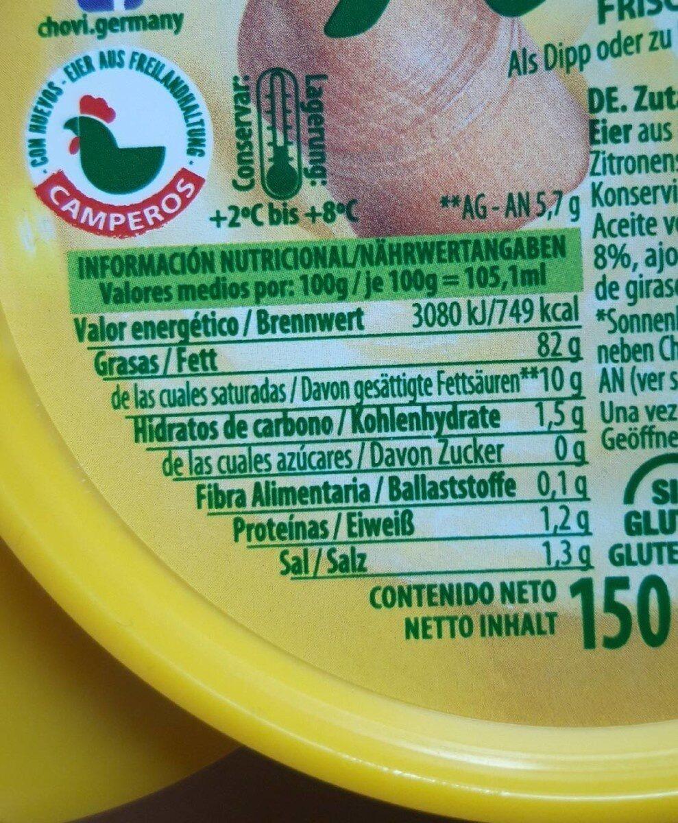 Allioli - Nutrition facts - en