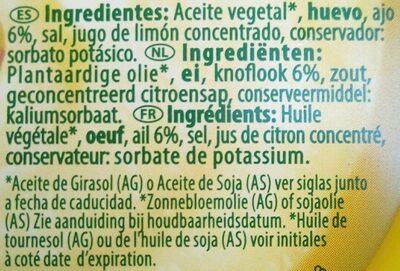 Allioli - Ingredients - fr