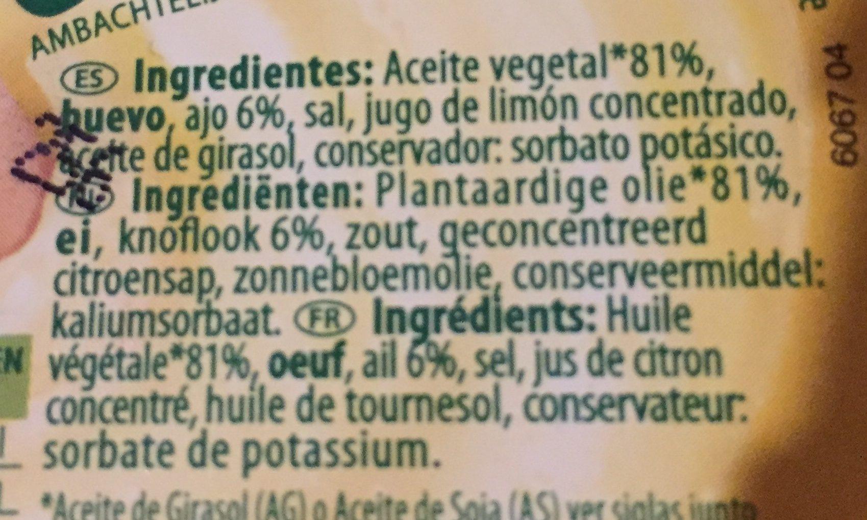 Allioli - Ingrediënten