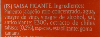Salsa pimienta tabasco - Ingredientes
