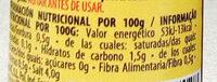 Salsa picante - Informació nutricional