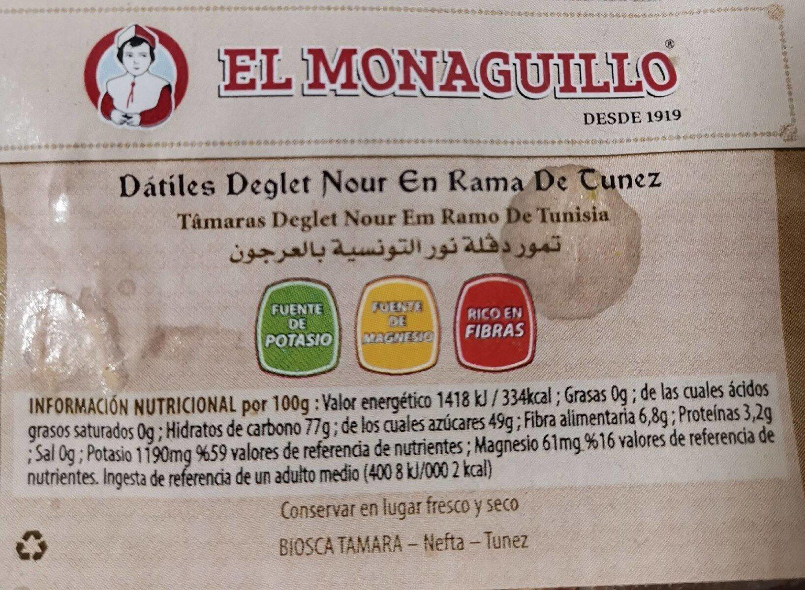 Datines deglet nour en rama de tunez - Informació nutricional - es
