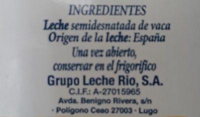 Leche semidesnatada de vaca - Ingredientes