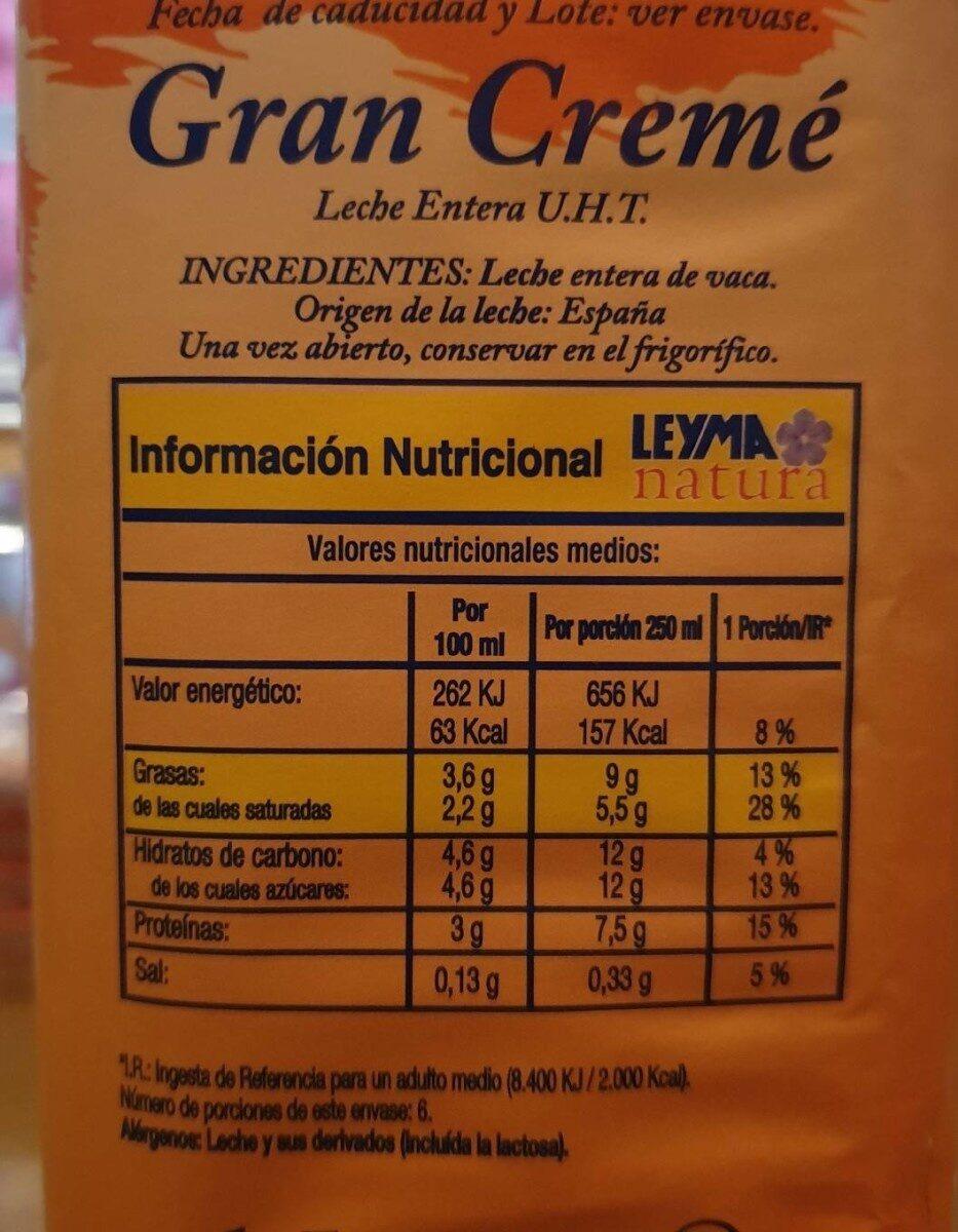 Leche U.H.T Leyma natura Gran Cremé - Nutrition facts