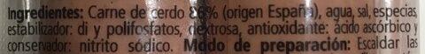 Salchichas - Ingredients - es