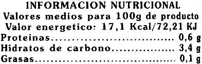 Brotes de bambú en láminas - Informations nutritionnelles - es