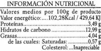 Salteado de alubias - Informations nutritionnelles