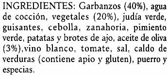 Garbanzos con vegetales - Ingredientes
