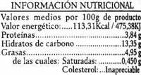 Garbanzos con vegetales - Información nutricional