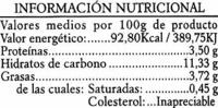 Lentejas con vegetales - Informations nutritionnelles - es