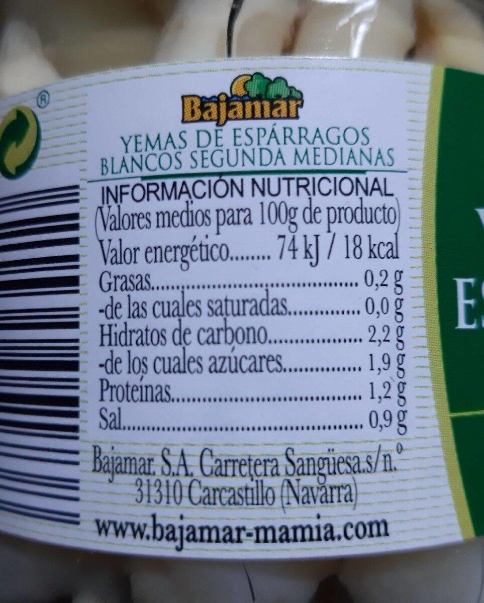 Yemas de espárragos blancos - Información nutricional - es