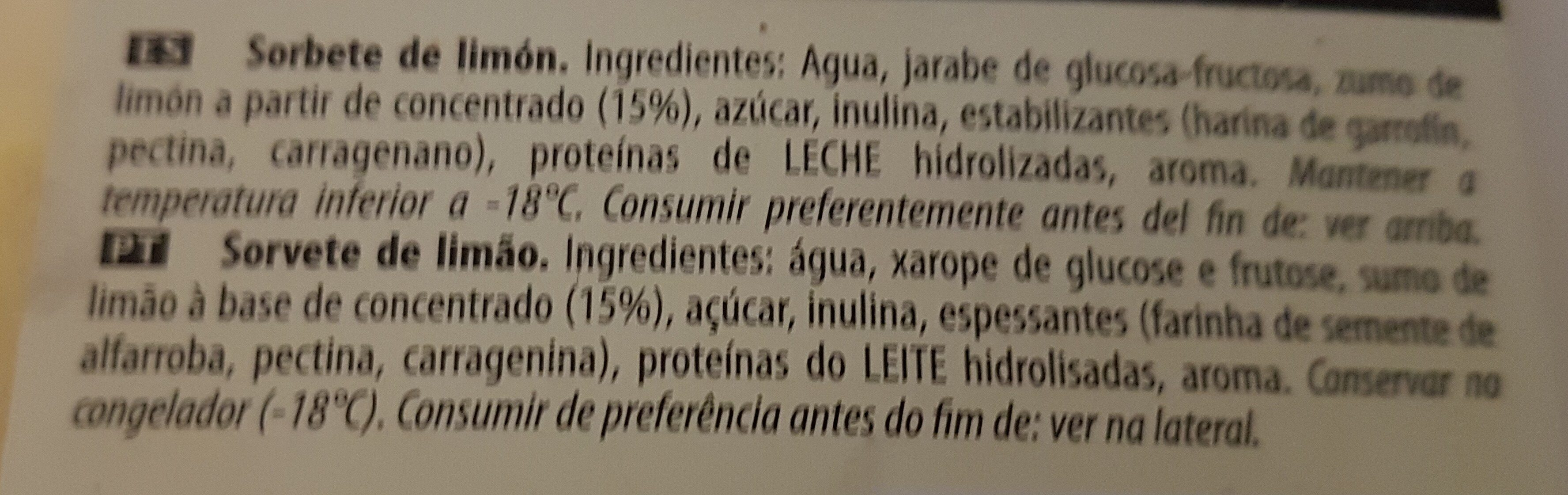 Los sorbetes LIMON - Ingredients - es