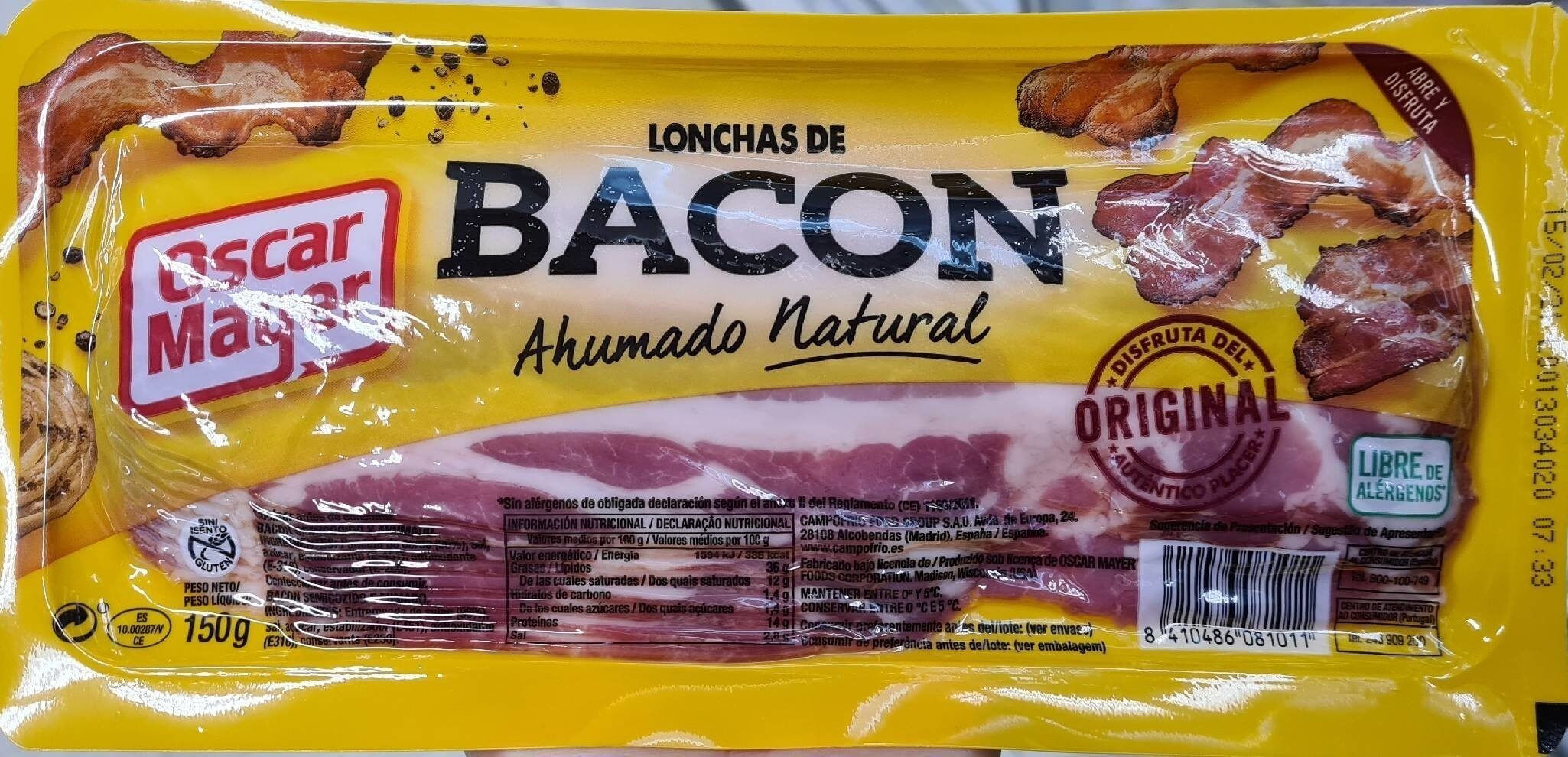 Lonchas de Bacon Ahumado Natural - Producte - es
