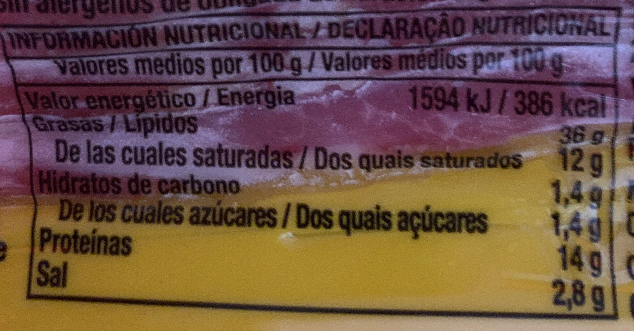 Bacon curado ahumado natural lonchas sin gluten - Información nutricional - es