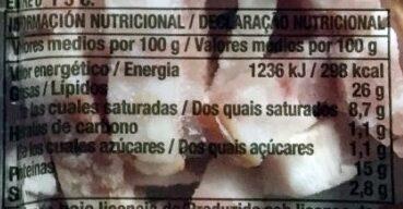Bacon ahumado natural tiras sin gluten - Información nutricional - es