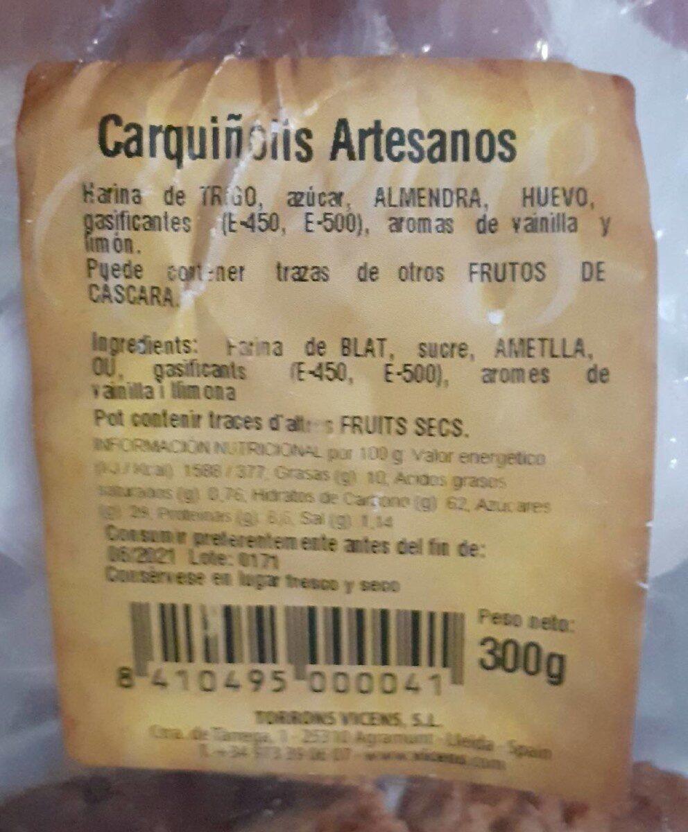 Carquiñolis Artesanos - Informació nutricional - es