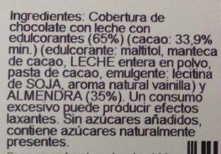 Chocolate Leche Almendra - Ingredients - es