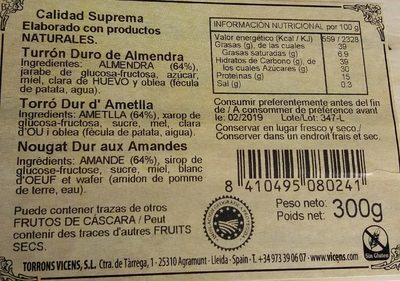 Torró d'Agramunt - Información nutricional - fr