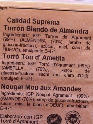 Tou d'Ametlla - Ingrédients - fr