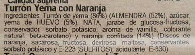 Turro yema Taronja - Ingredientes - es