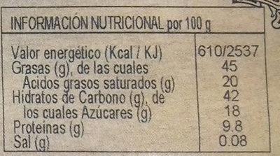 """Turrón Chocolate """"Bitter"""" Avellana - Información nutricional - es"""