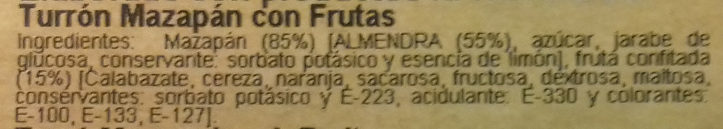 Turrón mazapán fruta - Ingredients