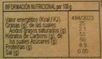 Turrón mazapán fruta - Informació nutricional - es