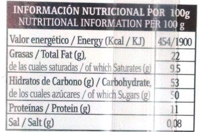 Turrón de Frambuesa - Información nutricional