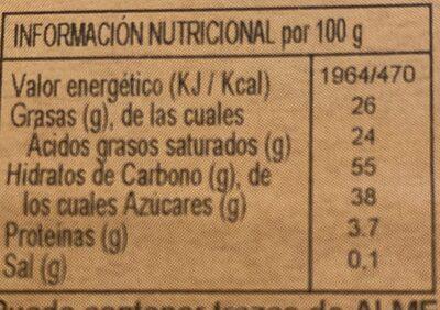 Turrón artesano, especialidad de coco - Informations nutritionnelles - es