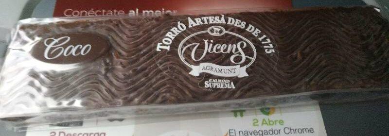Turrón Cocó bañado con Chocolate - Produit - es