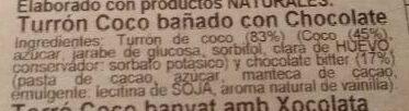 Turrón Cocó bañado con Chocolate - Ingrédients - es