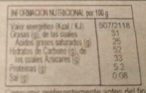 Turrón Cocó bañado con Chocolate - Informations nutritionnelles - es