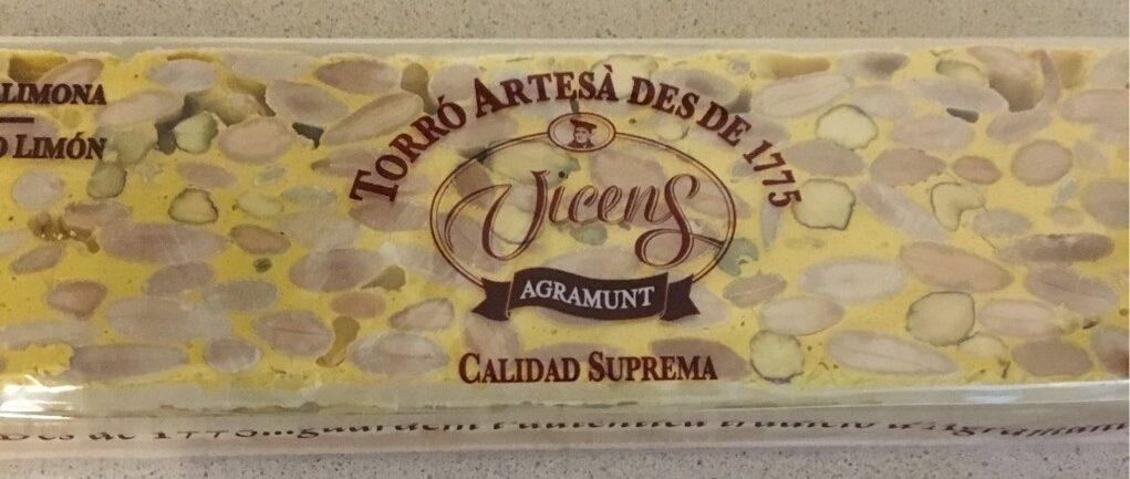 Turrón duro almendra, pistacho y limon - Produit