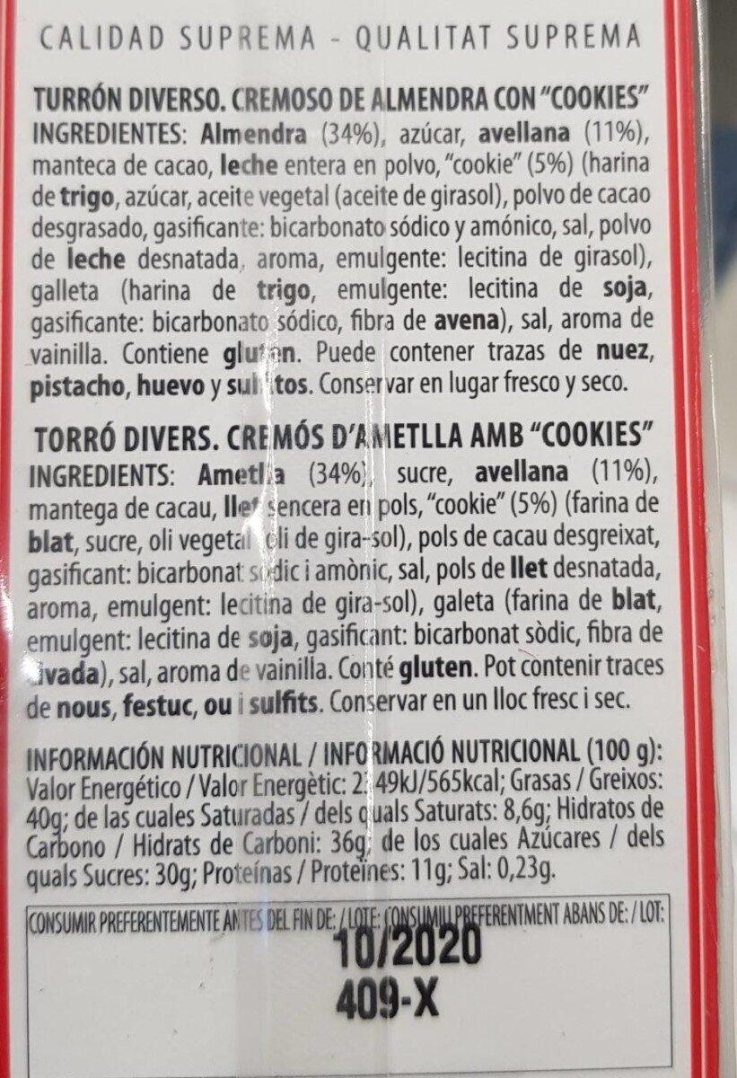 Turron solidario - Información nutricional - es